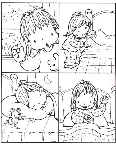 dibujar higiene niñois para colorear